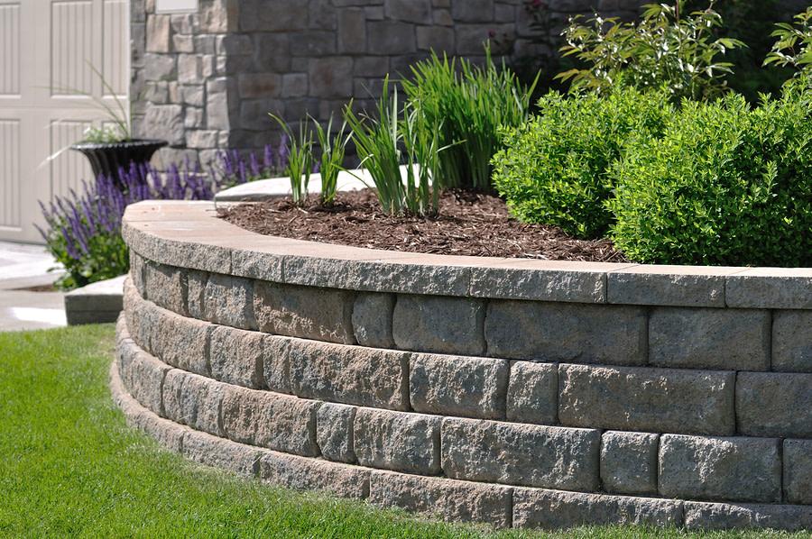 outdoor garden with retaining walls